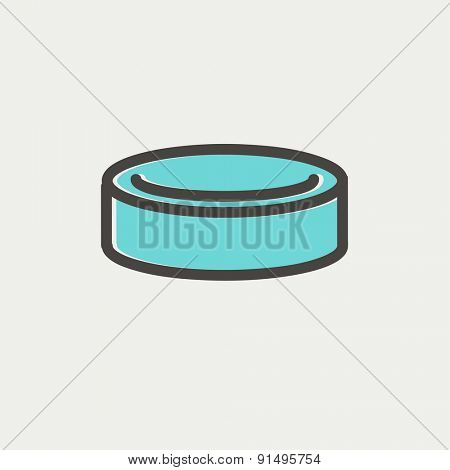 Hockey puck icon thin line for web and mobile, modern minimalistic flat design. Vector icon with dark grey outline and offset colour on light grey background.