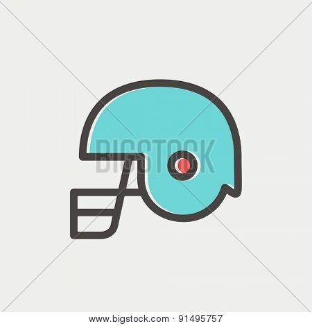 Football helmet icon thin line for web and mobile, modern minimalistic flat design. Vector icon with dark grey outline and offset colour on light grey background.