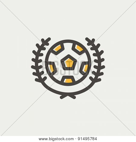 Sports soccer logo badges icon thin line for web and mobile, modern minimalistic flat design. Vector icon with dark grey outline and offset colour on light grey background.
