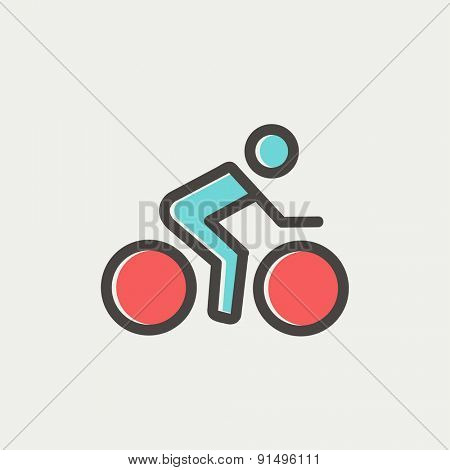 Sport bike and rider icon thin line for web and mobile, modern minimalistic flat design. Vector icon with dark grey outline and offset colour on light grey background.
