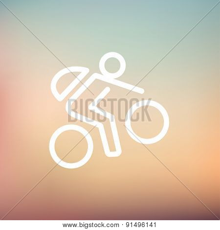 Mountain bike rider icon thin line for web and mobile, modern minimalistic flat design. Vector white icon on gradient mesh background.