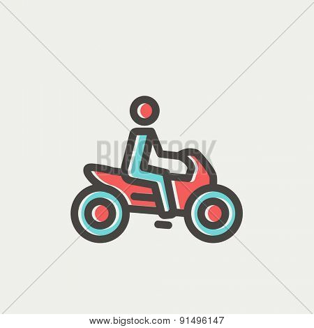 Motorbike icon thin line for web and mobile, modern minimalistic flat design. Vector icon with dark grey outline and offset colour on light grey background.