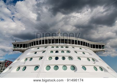 Bridge And Portholes On Front Of Cruise Ship