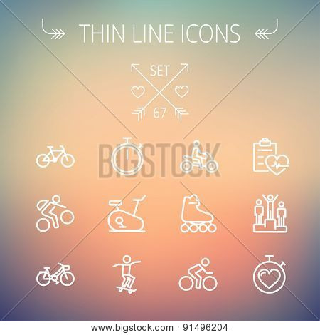 Sports thin line icon set for web and mobile. Set includes- stopwatch, skatboeard, bicycle, mountain bike, motorbike, roller skate, heart and time, winners icons. Modern minimalistic flat design