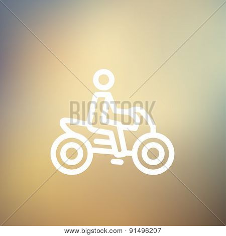 Motorbike icon thin line for web and mobile, modern minimalistic flat design. Vector white icon on gradient mesh background.