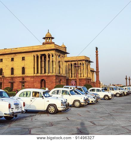 Official Hindustan Ambassador Cars Parked Outside North Block, Secretariat Building, New Delhi