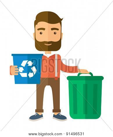 A Caucasian standing outside the house sorting a trash and will throw to the barbage bin. Eco-friendly. A Contemporary style. Vector flat design illustration isolated white background. Vertical layout