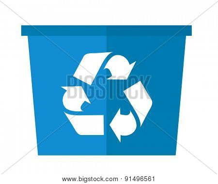A blue garbage can with recycle symbol. A Contemporary style. Vector flat design illustration isolated white background. Square layout.
