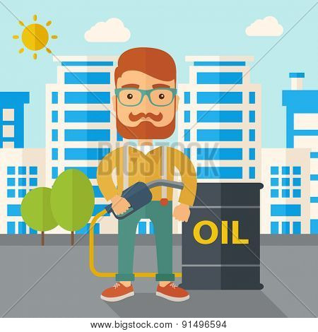 A caucasian businessman standing beside the oil can with pump infornt of the buildings. A Contemporary style with pastel palette, soft blue tinted background with desaturated clouds. Vector flat