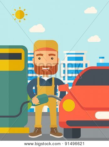 A happy hipster gasoline boy filling up fuel into the car. A Contemporary style with pastel palette, soft blue tinted background with desaturated clouds. Vector flat design illustration. Vertical