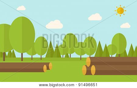 Pile of drywood sorrounded by a trees. A Contemporary style with pastel palette, soft blue tinted background with desaturated clouds. Vector flat design illustration. Horizontal layout.
