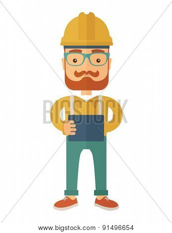 A young hipster male standing while holding a blueprint. A Contemporary style. Vector flat design illustration isolated white background. Vertical layout