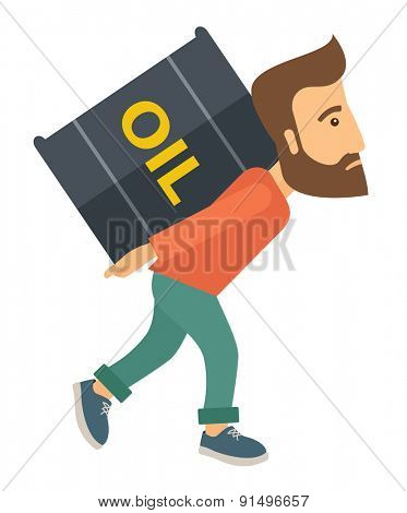 A businessman walking while carrying a heavy barrel of oil for delivery. A Contemporary style. Vector flat design illustration isolated white background. Vertical layout