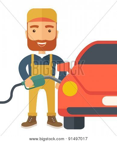 A happy hipster gasoline boy filling up fuel into the car. A Contemporary style. Vector flat design illustration isolated white background. Square layout