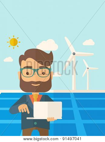 A man with laptop using the solar panel under the sun as power electricity. A Contemporary style with pastel palette, soft blue tinted background with desaturated clouds. Vector flat design
