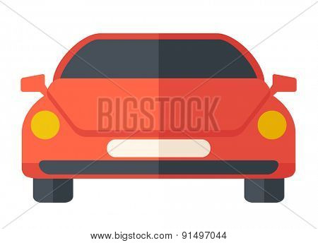 A red sports car. A Contemporary style. Vector flat design illustration isolated white background. Horizontal layout