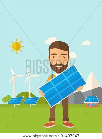 A happy young man standing while holding a solar panel under the heat of the sun. A Contemporary style with pastel palette, soft blue tinted background with desaturated clouds. Vector flat design
