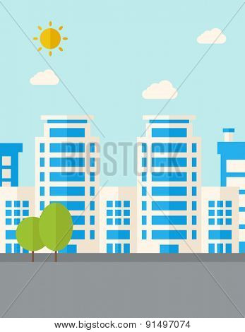 A buildings with trees under the sun. A Contemporary style with pastel palette, soft blue tinted background with desaturated clouds. Vector flat design illustration. Vertical layout.