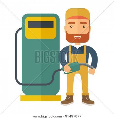 A happy hipster gasoline boy with gas pump. A Contemporary style. Vector flat design illustration isolated white background. Square layout