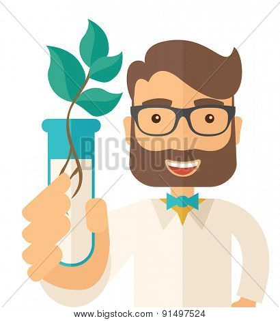 A chemist holding a test tube with eco leaves. A Contemporary style. Vector flat design illustration isolated white background. Square layout.
