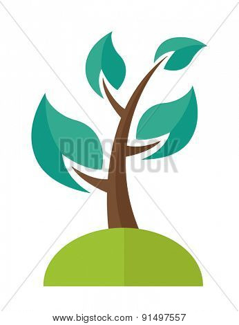 A green ecology Tree. A Contemporary style. Vector flat design illustration isolated white background. Vertical layout