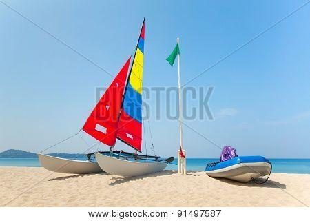 Catamaran wing yacht on the beach