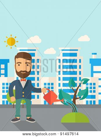 A man watering the growing plant as improving economy. A Contemporary style with pastel palette, soft blue tinted background with desaturated clouds. Vector flat design illustration. Vertical layout