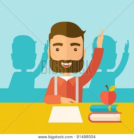 A young student raising his hand with a smile. A Contemporary style with pastel palette, soft green tinted background. Vector flat design illustration. Square layout.