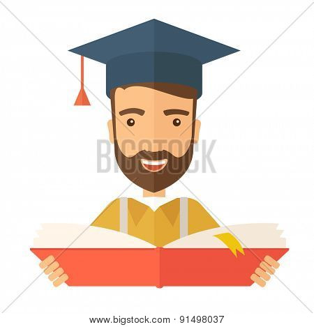 Man sstanding and reading  a book, wearing graduation cap, representing to be graduated in studying or finished school or university. A Contemporary style. Vector flat design illustration isolated