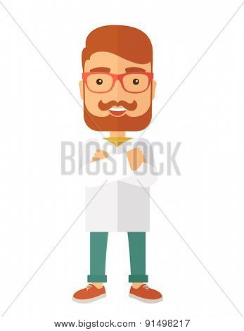 A Young handsome male medicine doctor assistant standing in white lab coat with cross arms. A Contemporary style. Vector flat design illustration isolated white background. Vertical layout