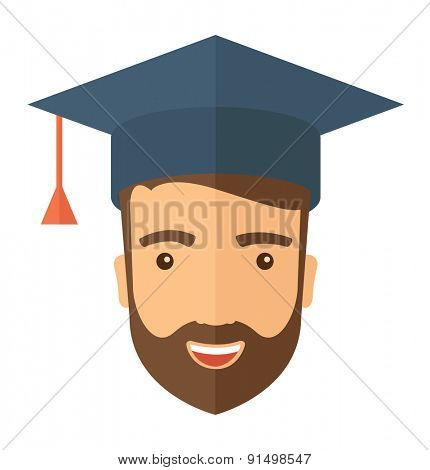 A smiling male head with graduation cap. A Contemporary style. Vector flat design illustration isolated white background. Square layout
