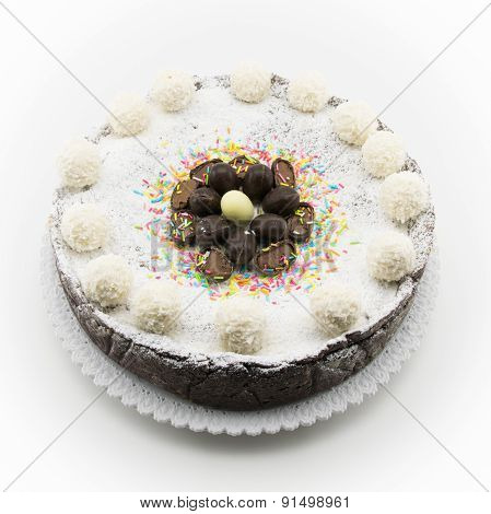 Ricotta And Chocolate Cake Decorated With Chocolate Eggs