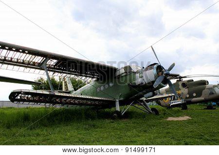 Broken plane at aviation junkyard
