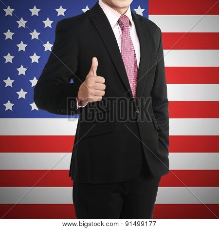 Man Show Thumb Up With Usa Flag Behind Him