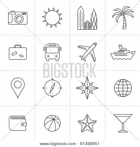 Travel and tourism icon set. Vacation and travel icons. Simple outlined icons. Linear style
