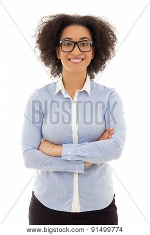 Portrait Of African American Business Woman Isolated On White