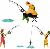 stock photo of rod  - ishermen with fishing rods fishing man woman fishing on a white background - JPG