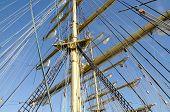 pic of mast  - Ropes on the mast of a sailboat Kruzenshtern - JPG