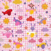 foto of baby pig  - cute baby animals in airplanes seamless kids pattern - JPG