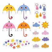 picture of raindrops  - cute umbrellas raindrops flowers clouds design elements set - JPG