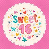 stock photo of sweet sixteen  - Sweet Sixteen decorative type lettering card design - JPG