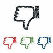 stock photo of dislike  - Colored grunge icon set with image of dislike - JPG