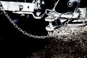 picture of towing  - Close up of new tractor hitch with tow bar and chains artistic effects on image  - JPG
