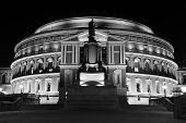 stock photo of kensington  - Black and White night shot of the Royal Albert Hall in London - JPG