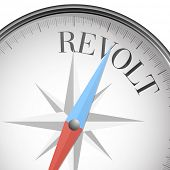 stock photo of revolt  - detailed illustration of a compass with revolt text - JPG