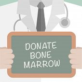 picture of marrow  - minimalistic illustration of a doctor holding a blackboard with Donate Bone Marrow text - JPG