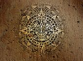pic of american indian  - Background in American Indian Style with Aztec calendar on old stone - JPG