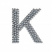 picture of letter k  - 3d render of metallic spheres alphabet letter symbol  - JPG