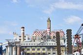 foto of genova  - electric power plant in the harbour of genova - JPG