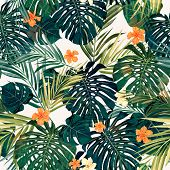 picture of hawaiian flower  - Summer colorful hawaiian seamless pattern with tropical plants and hibiscus flowers - JPG